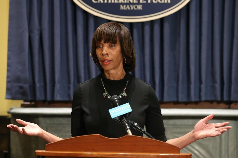 Baltimore Mayor Catherine Pugh stands at a podium in August 2017.