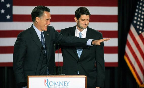 Mitt Romney, left, is introduced by Wisconsin Congressman Paul Ryan.