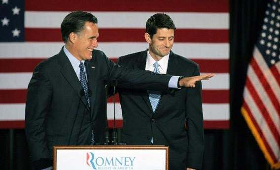 Mitt Romney, left, is introduced by Wisconsin Congressman Paul Ryan.