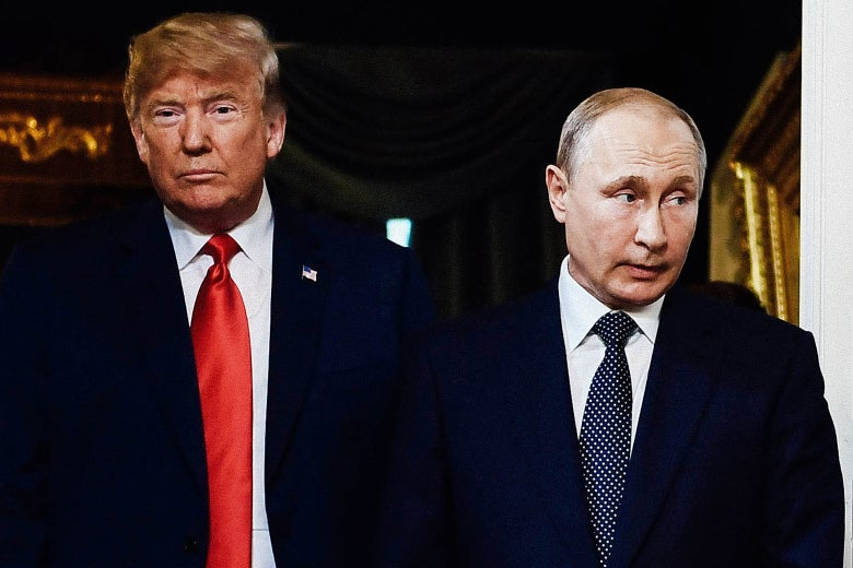 Donald Trump looks straight ahead, and Putin looks off to the side.