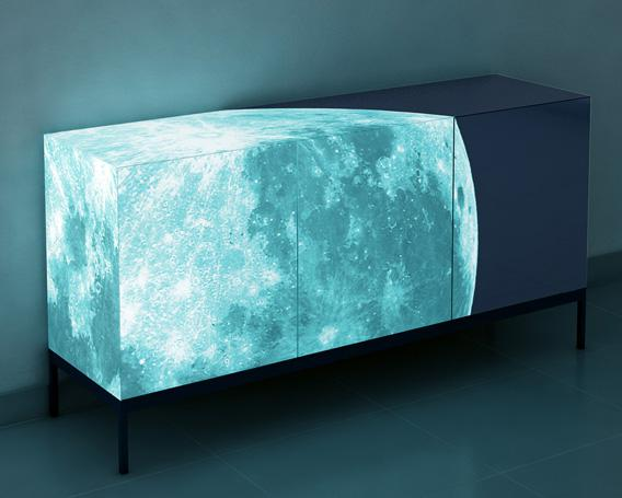 Credenza with the full Moon glowing on it