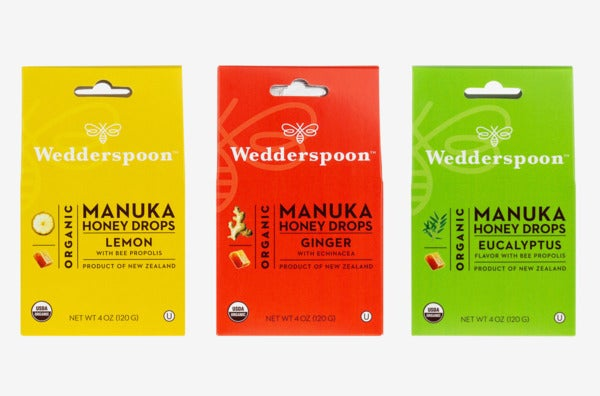 Wedderspoon Organic Gluten-Free Cough Drops Flavor Sampler Bundle.