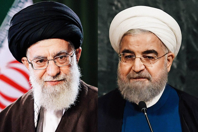 Supreme Leader of Iran Ali Khamenei and Iranian President Hassan Rouhani