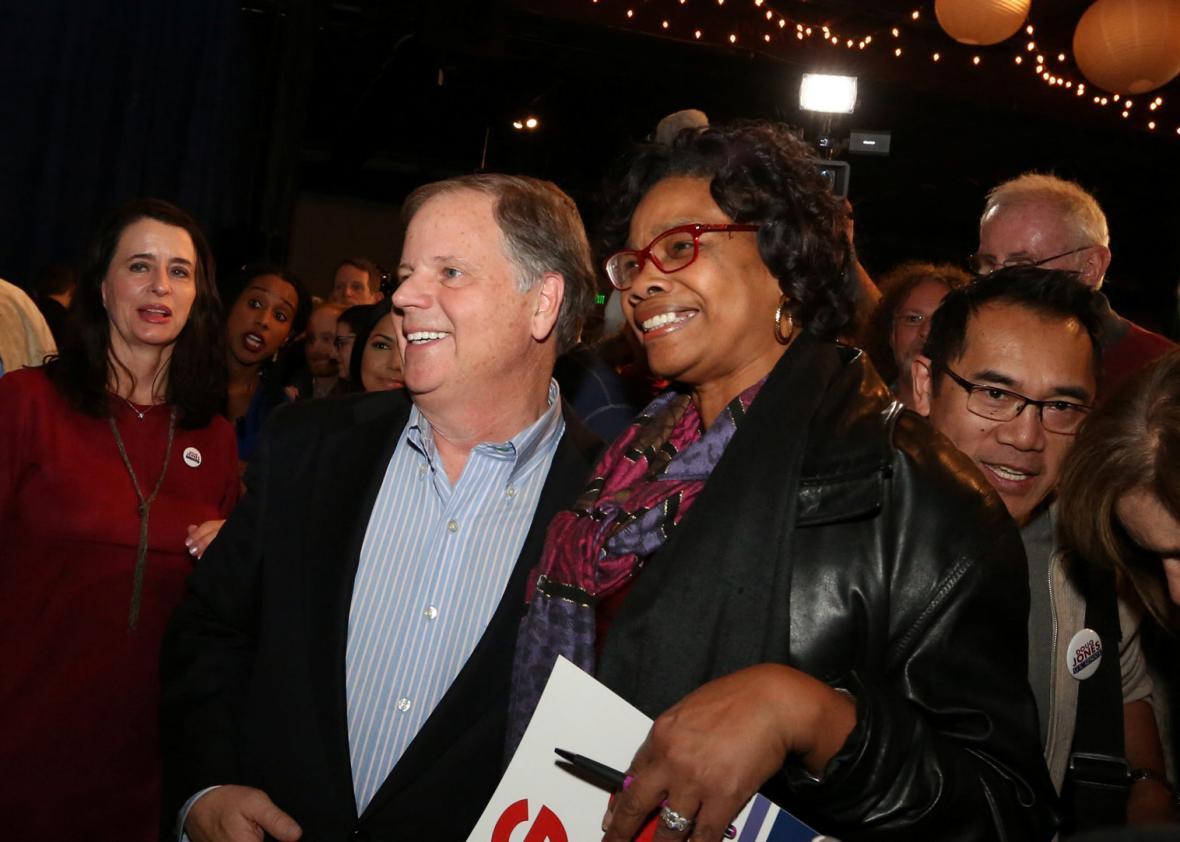 A supporter of Democratic Alabama U.S. Senate candidate Doug Jones