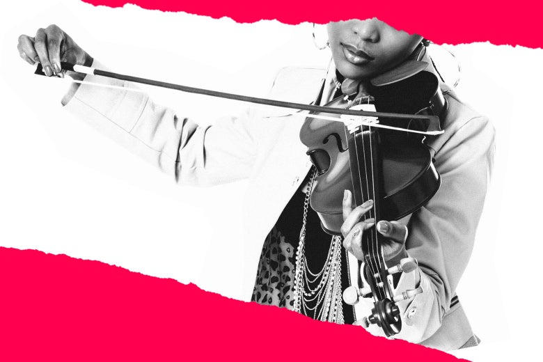 A woman plays the violin.