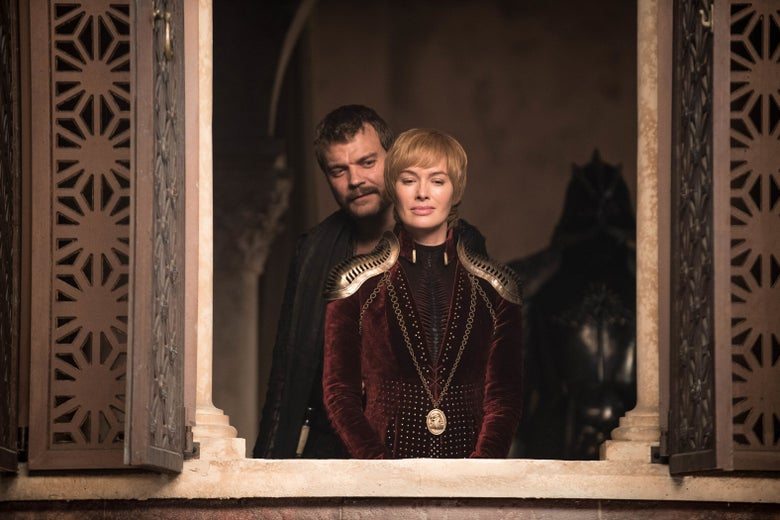 Cersei Lannister stands at a window, flanked by Euron Greyjoy and the Mountain.