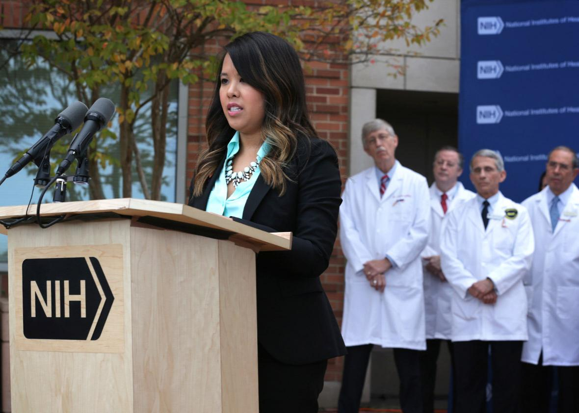 Nina Pham (L), a nurse who was infected with Ebola from treating
