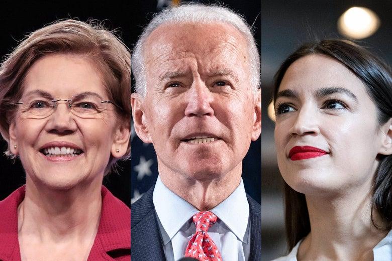 Elizabeth Warren, Joe Biden, Alexandria Ocasio-Cortez