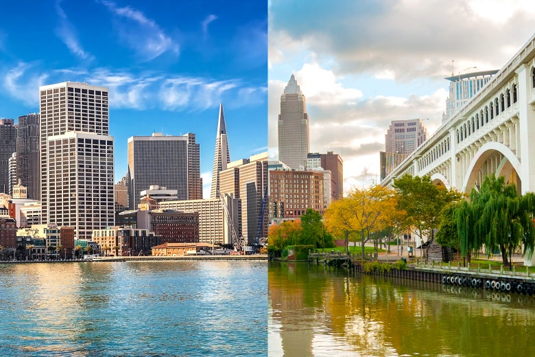 Side by side images of Los Angeles and Cleveland.
