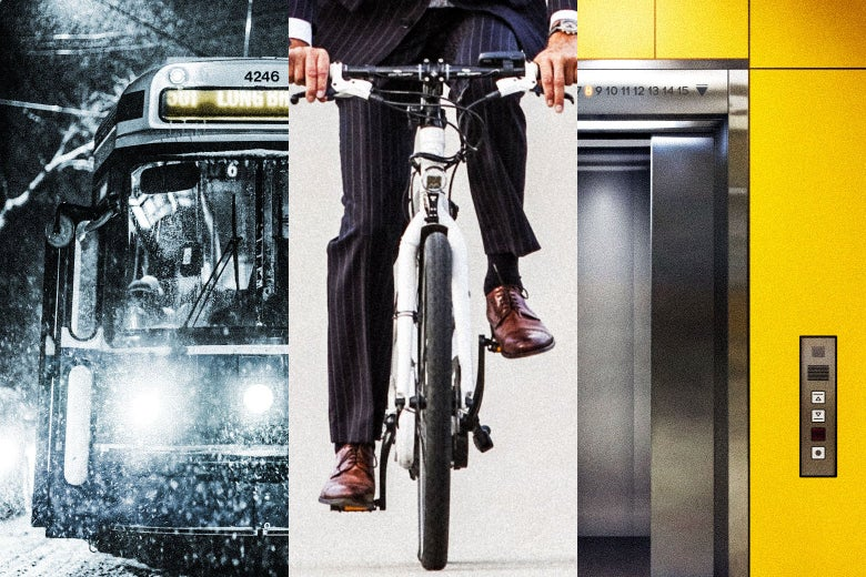 Triptych of a bus, a bike, and an elevator.