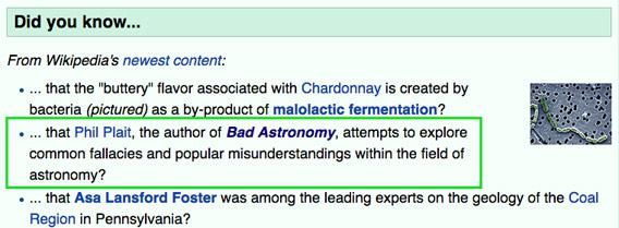 Bad Astronomy on Wikipedia