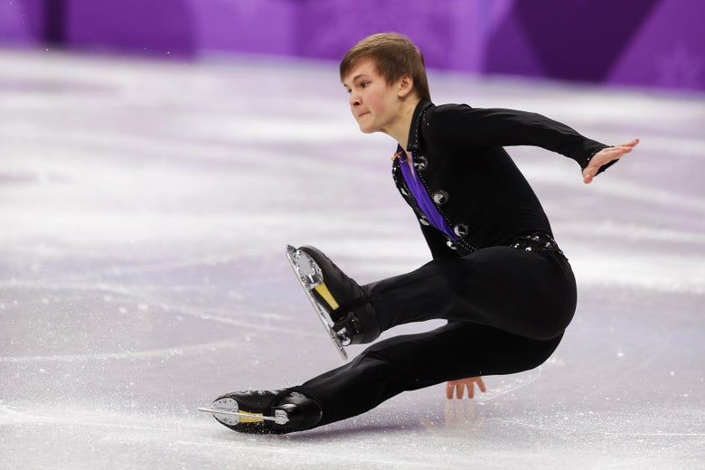 GANGNEUNG, SOUTH KOREA - FEBRUARY 12:  Mikhail Kolyada of Olympic Athlete from Russia stumbles during his routine in the Figure Skating Team Event – Men's Single Free Skating on day three of the PyeongChang 2018 Winter Olympic Games at Gangneung Ice Arena on February 12, 2018 in Gangneung, South Korea.  (Photo by Richard Heathcote/Getty Images)