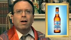 """Still from """"Milbank, Flashing H. Clinton Photo: """"We Won't Tell You Who's Getting A Bottle Of Mad Bitch"""" Beer""""/YouTube."""