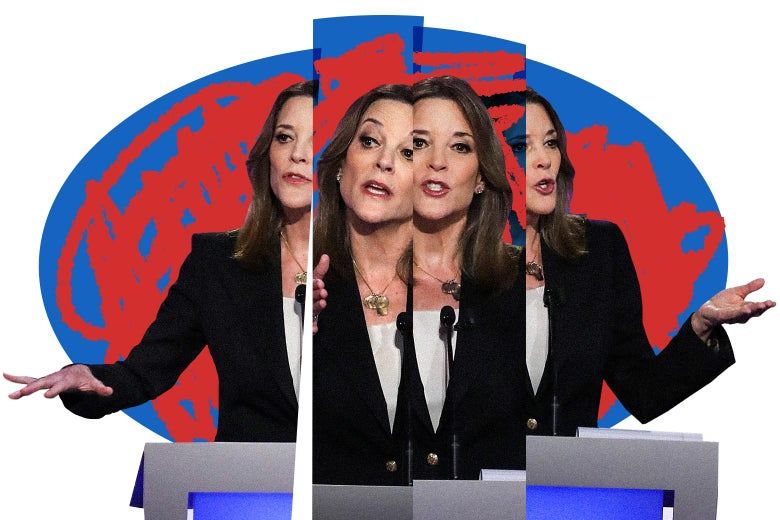 Photo illustration of Marianne Williamson superimposed on Marianne Williamson so it looks like a choppy, multifaceted Marianne Williamson. She is surrounded by an orb.
