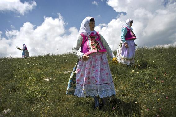 Doukhobor women in a grassy meadow in Gorelovka, Georgia.
