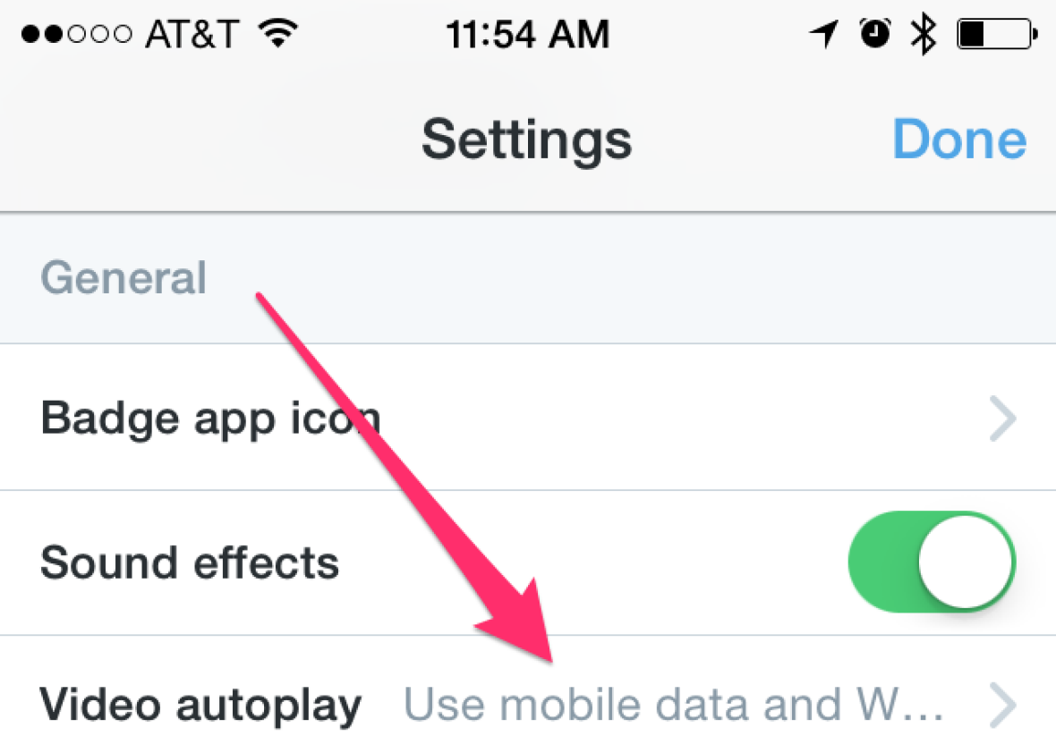 Twitter autoplay video settings
