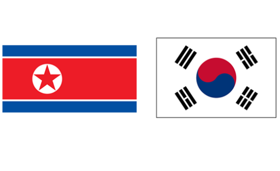 Flag of North Korea and South Korea.