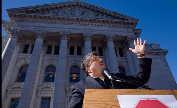 National AFL-CIO President Richard Trumka speaks during a rally in opposition of the Wisconsin Gov. Scott Walker's bill that threatens collective bargaining rights February 18, 2011 in Madison, Wisconsin.