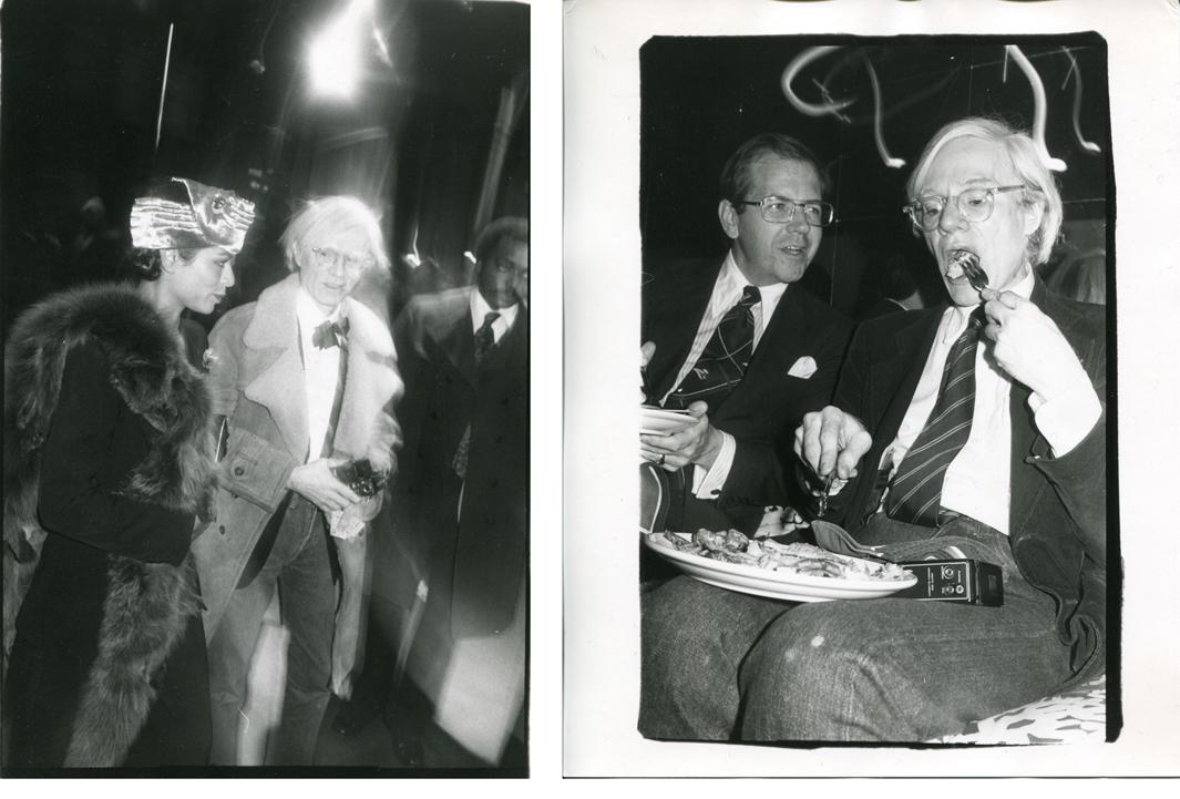 "Left: Out on the Town: Bianca Jagger and Andy Warhol, ca. 1980 Right: Andy Warhol at a Party with His Tape Recorder, Which he Referred to as ""My Wife Sony,"" and an Unidentified Friend, ca. 1980"