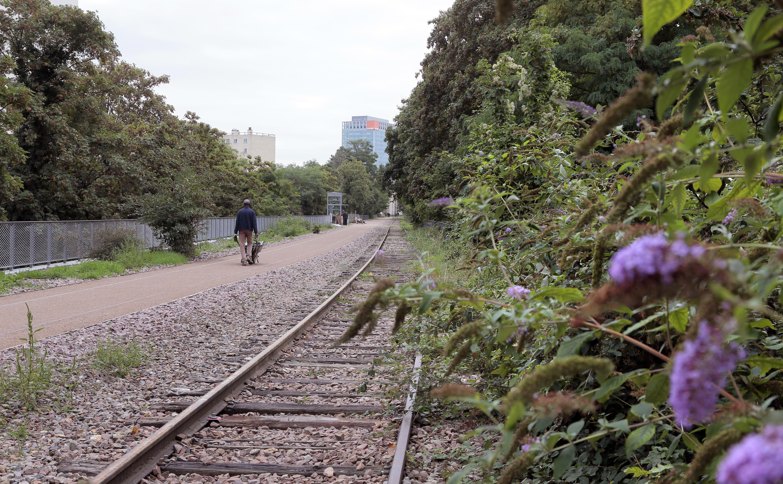 An abandoned railroad track.