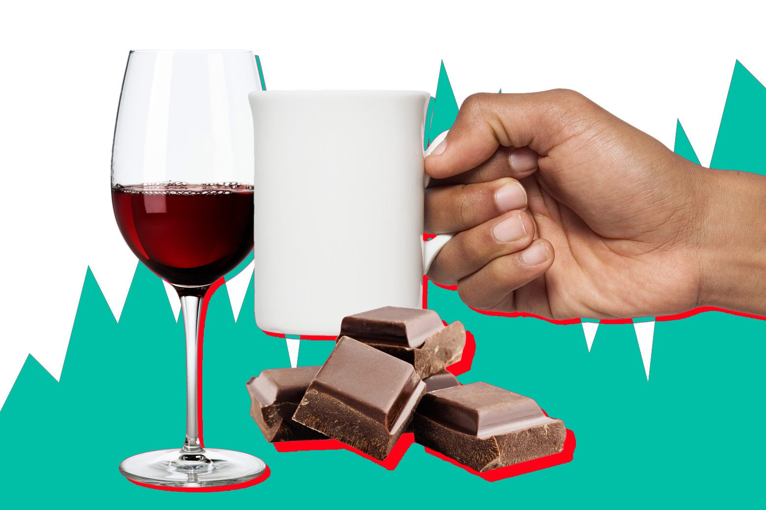 Red wine, chocolate, and coffee.