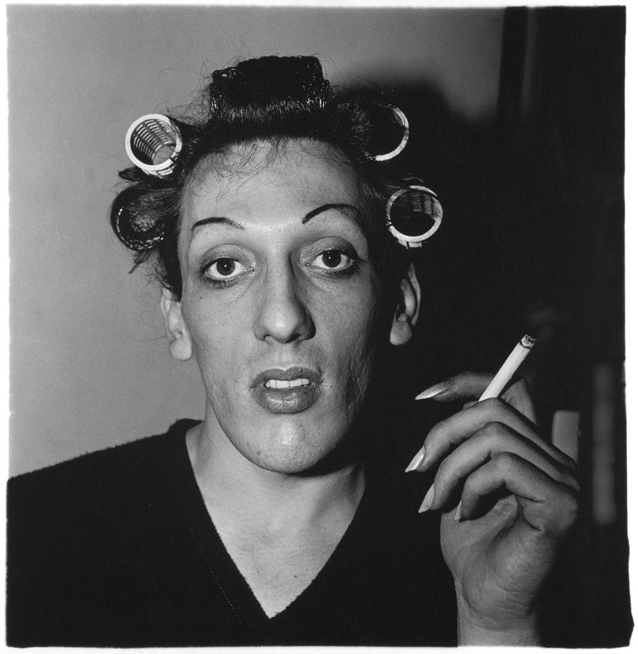 Young man in curlers, 1966.