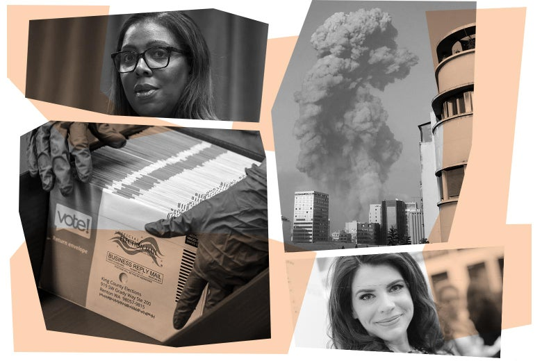 Letitia James, smoke arising from a skyline, Stephanie Meyer, and hands holding voting ballots.