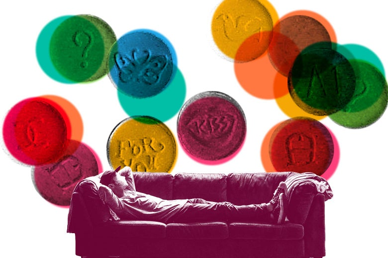 Photo illustration: A person lies on a couch while various colored pills with symbols float above the couch.
