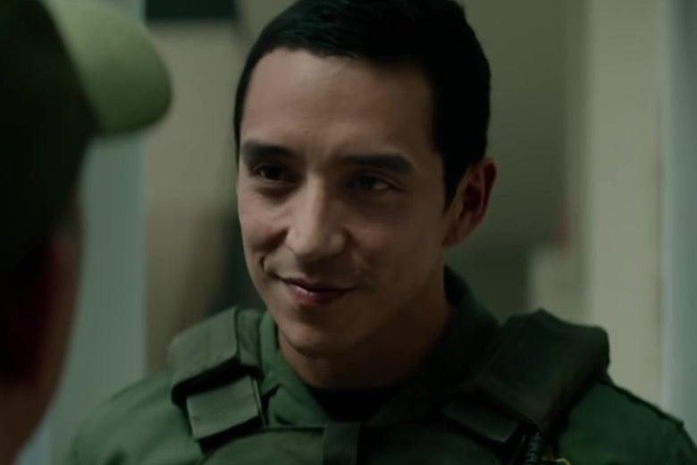 Gabriel Luna plays the Rev-9 in a still from Terminator: Dark Fate.