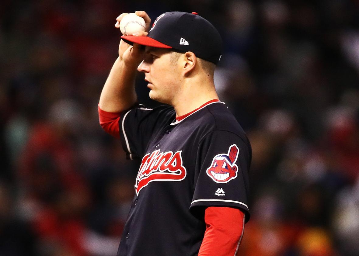 Trevor Bauer #47 of the Cleveland Indians reacts after walking Anthony Rizzo #44 of the Chicago Cubs during the third inning in Game Two of the 2016 World Series at Progressive Field on October 26, 2016 in Cleveland, Ohio.