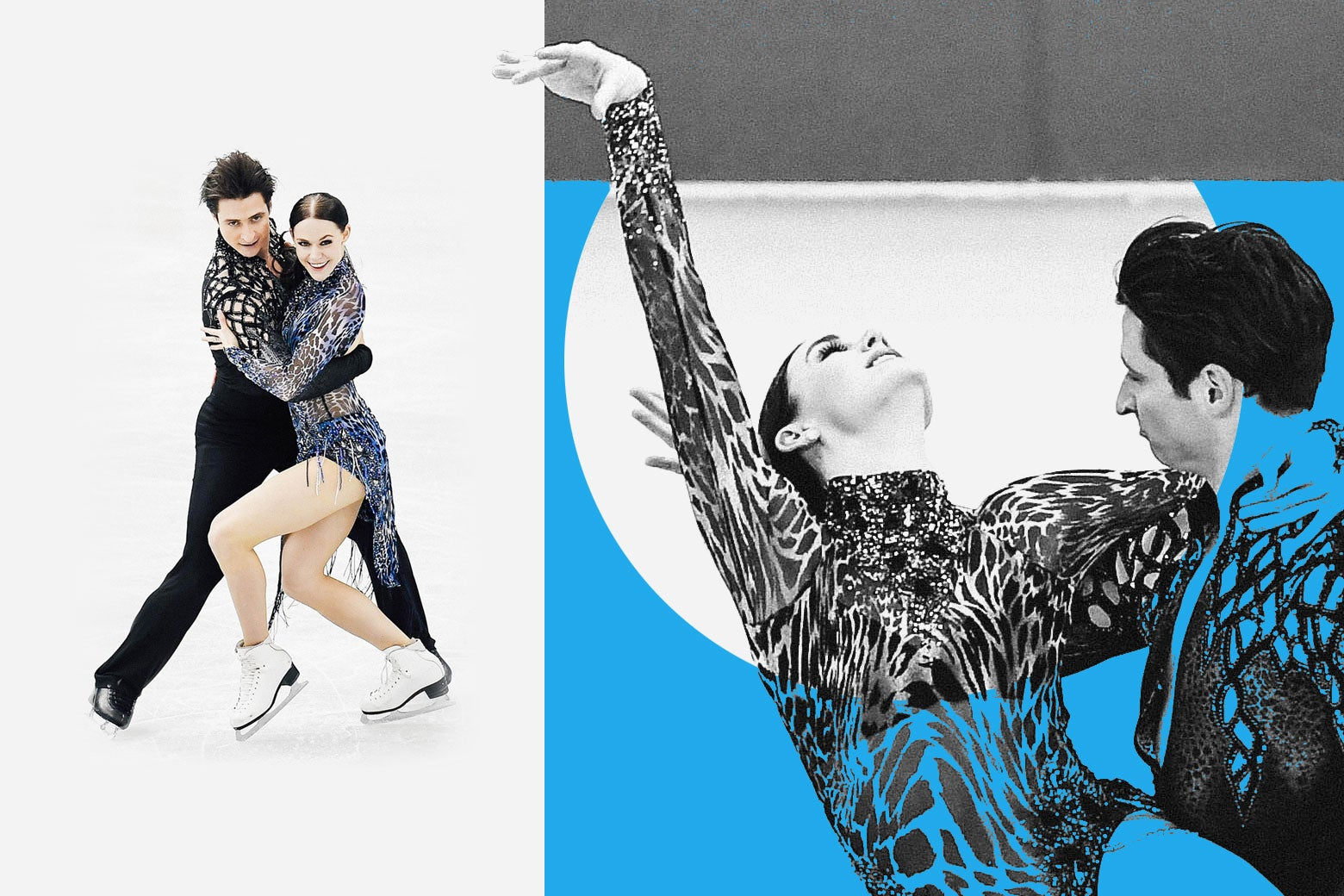 A collage of images of Tessa Virtue and Scott Moir skating.