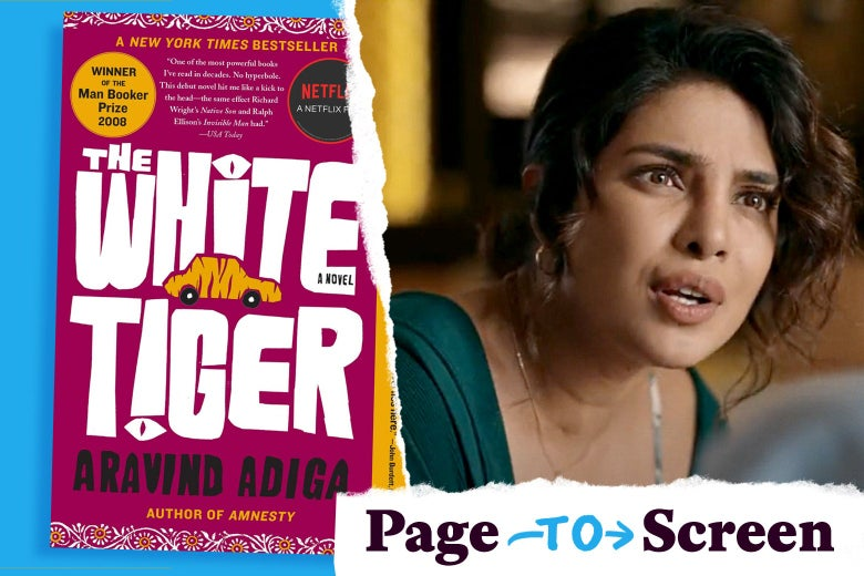 The book cover and Priyanka Chopra Jonas in the movie.