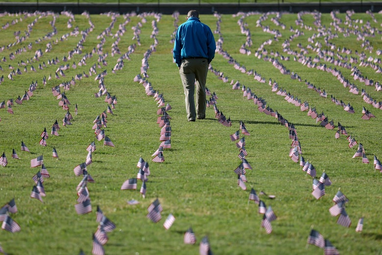 A man bows his head as he walks through a line of small American flags planted in the ground.