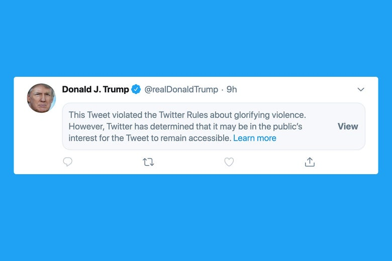 Twitter Covers Trump Tweet With Warning Label For Glorifying Violence