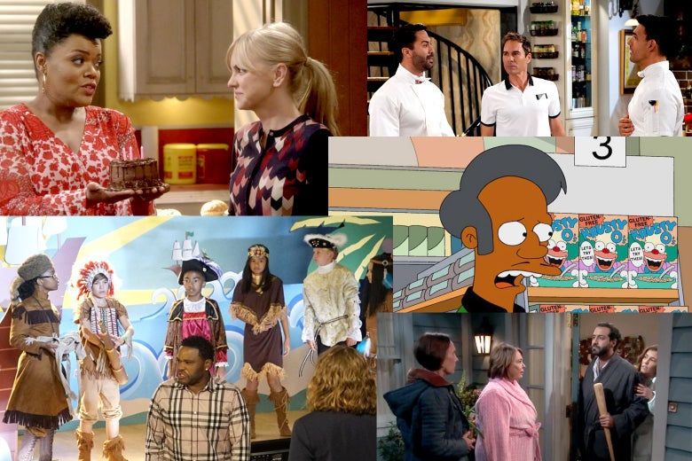 Scenes from Mom, Will & Grace, The Simpsons, Roseanne, and Black-ish.