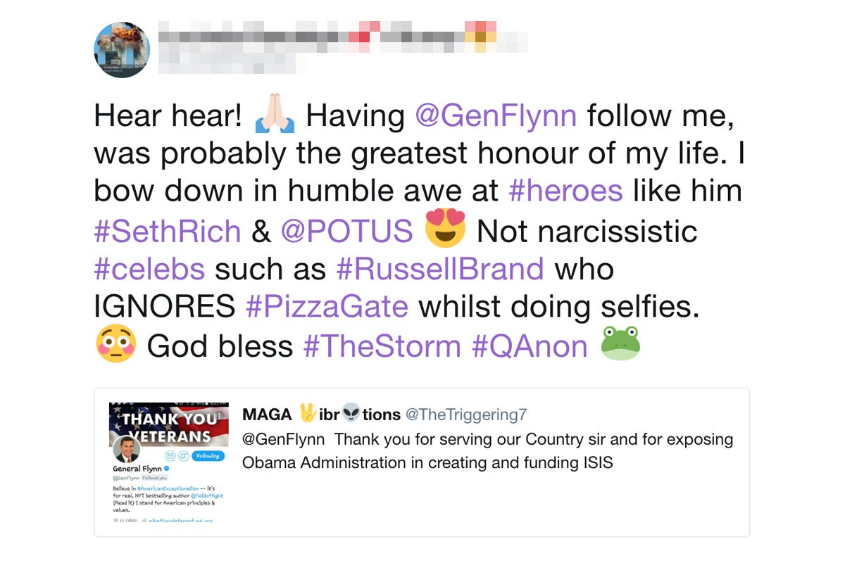 A QAnon-related tweet.