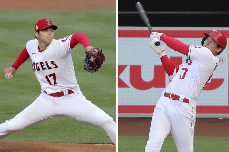 Left: Angels' pitcher Shohei Ohtani pitching, Right: Ohtani hitting a home run