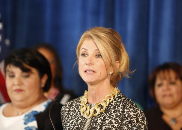 Wendy Davis speaks about a recent Supreme Court ruling on HB2, a Texas state abortion law, on Oct. 16, 2014, in Houston