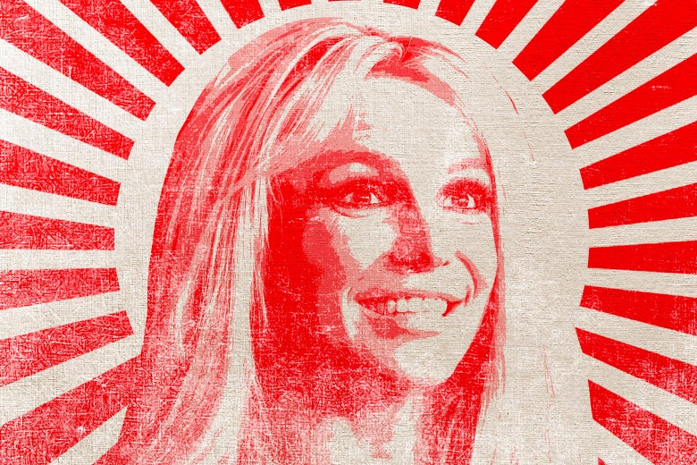 Britney Spears, red beams radiating out from our communist queen, in the style of a communist propaganda poster