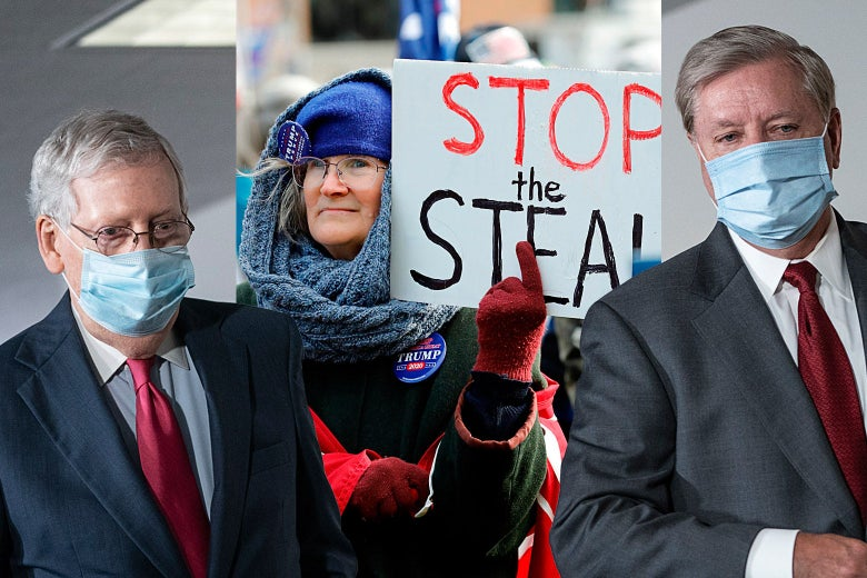 "Mitch McConnell, a ""Stop the Steal"" protester, and Lindsey Graham."