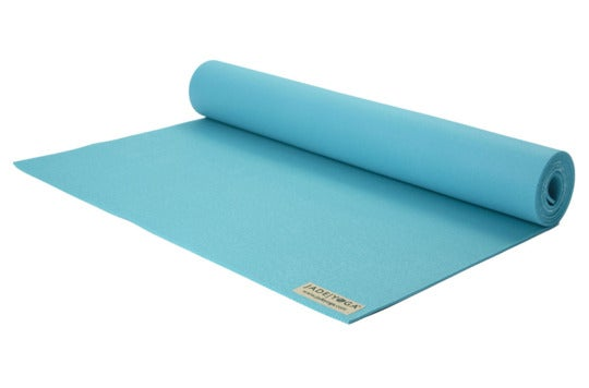 Light blue yoga mat.