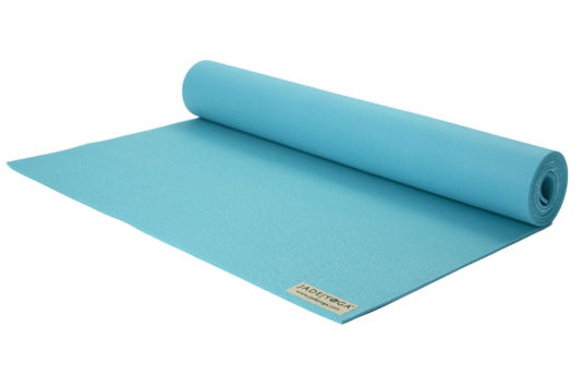 Light blue yoga mat.