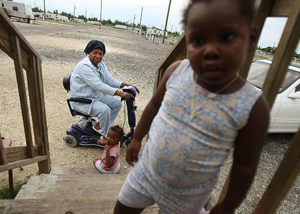 children in the FEMA Diamond travel trailer park.