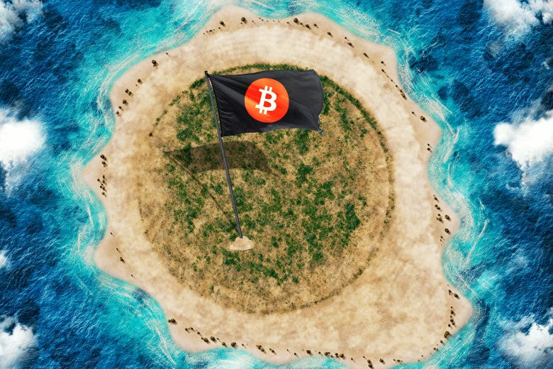 A island with a cryptocurrency flag