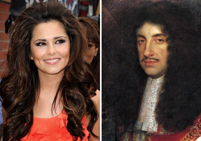 Singer Cheryl Cole and King Charles II.