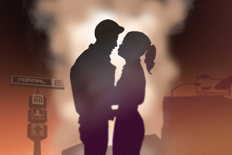 A silhouette of a couple embracing against a rising cloud of smoke and a factory