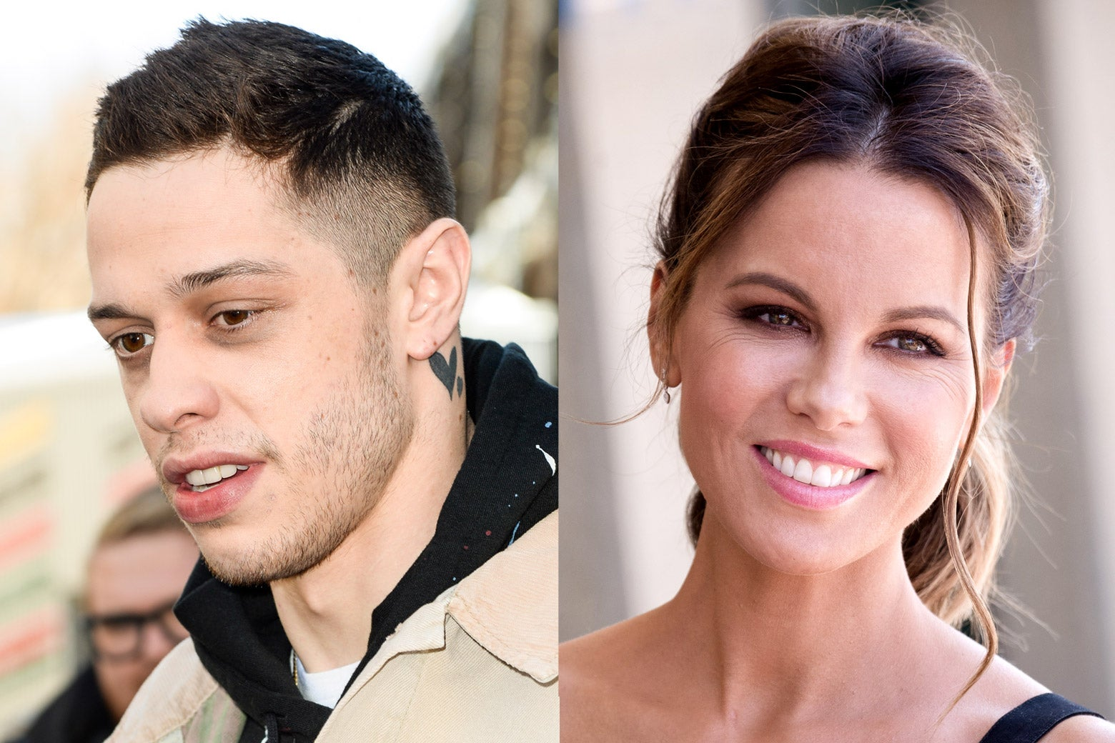 Portraits of Pete Davidson and Kate Beckinsale side by side from the shoulders up.