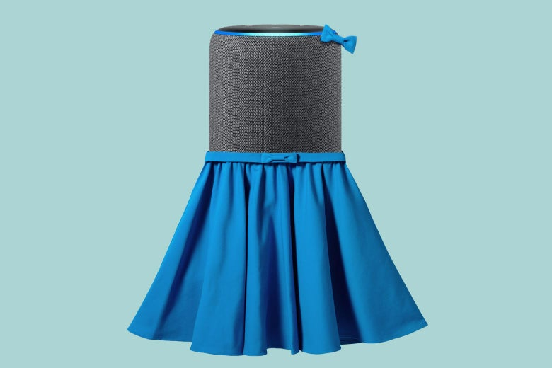 An Amazon Echo device wearing a skirt and matching bow.