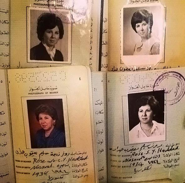 Photograph of the author's grandmother's passports over the years.