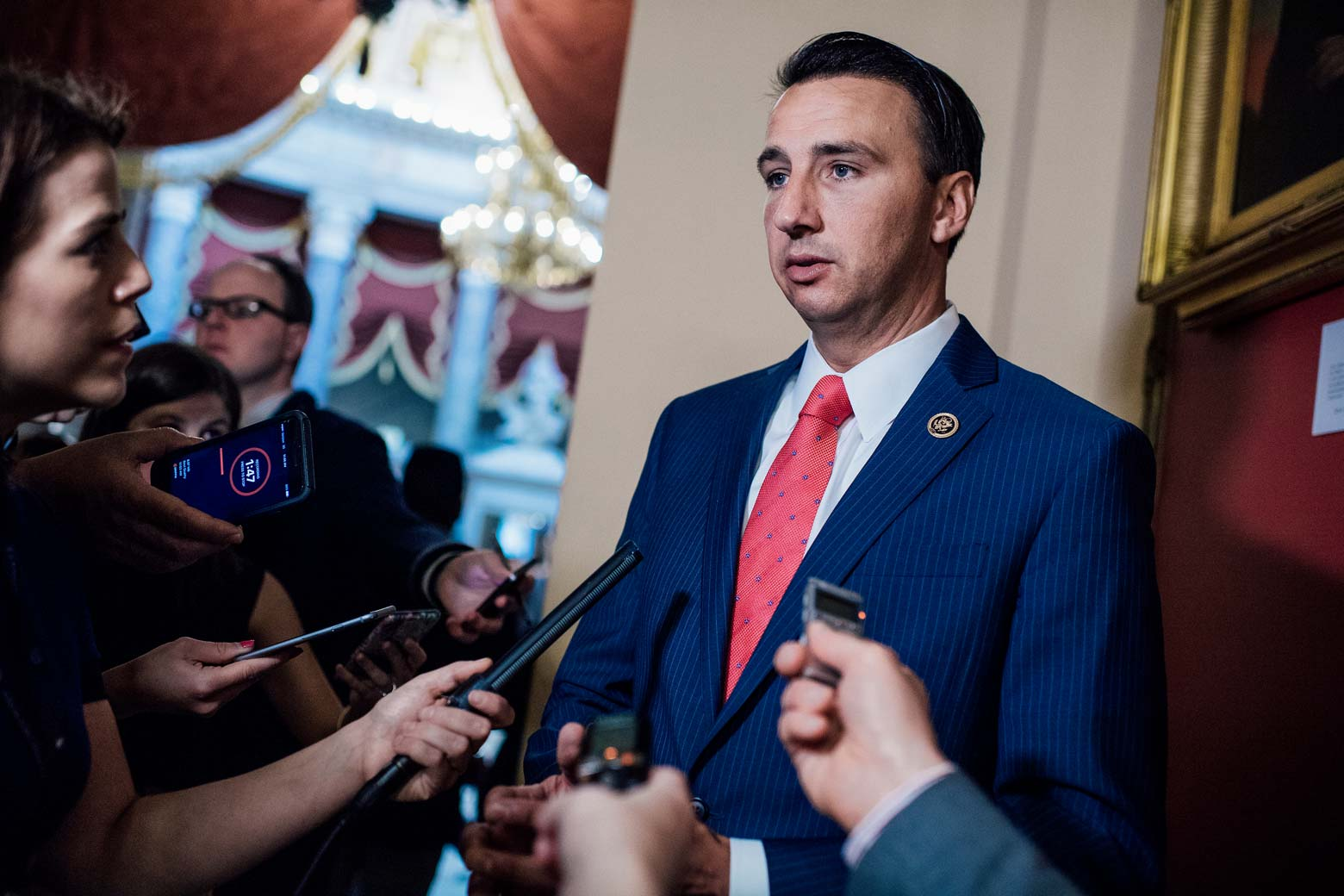 Rep. Ryan Costello, R-Pa., who missed practice this morning, talks with the media in the Capitol after a shooting at the Republican's baseball practice in Alexandria on June 14, 2017.